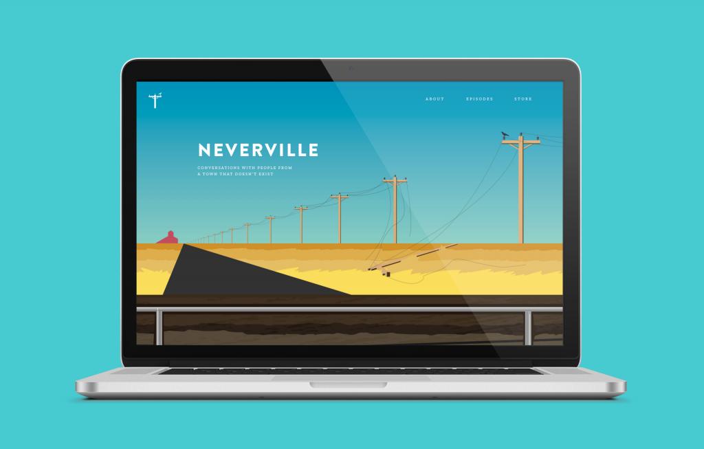 Neverville website on a laptop
