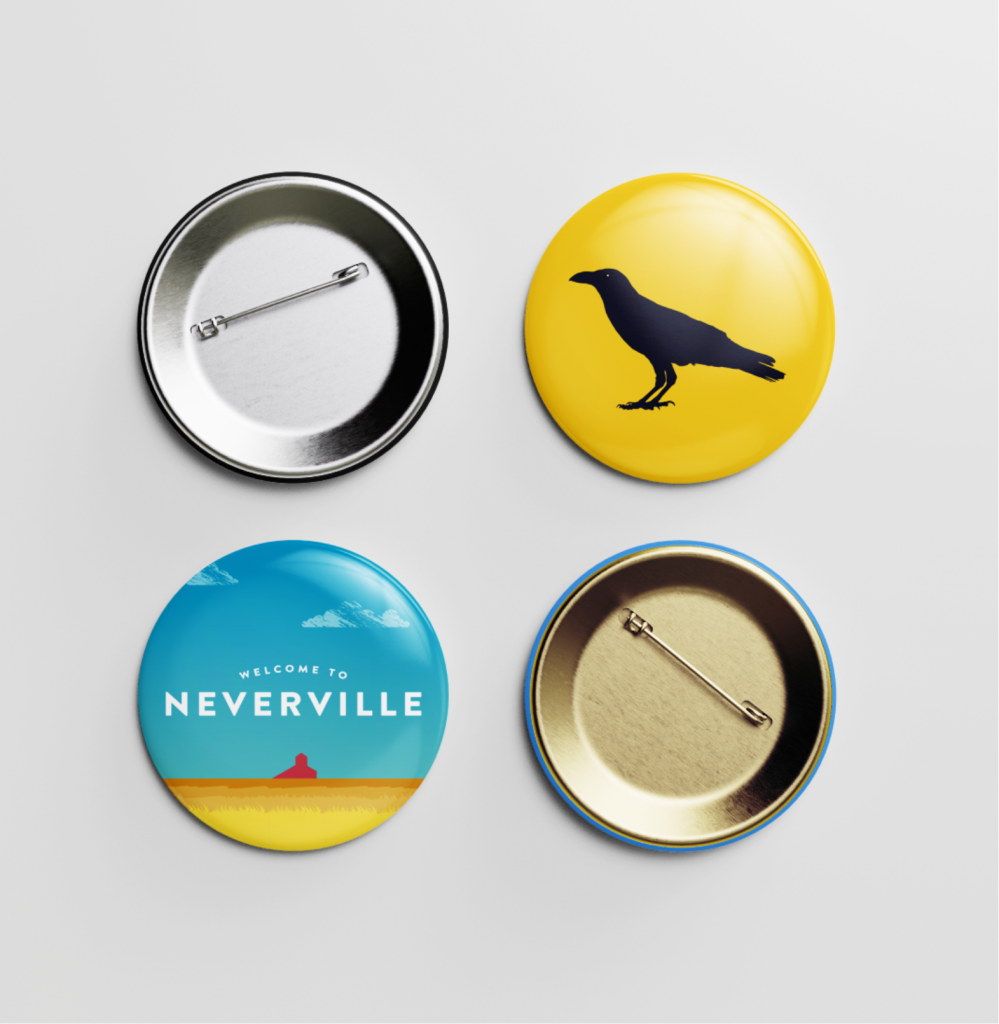 Neverville pins of a crow and landscape