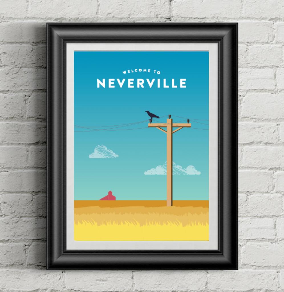 Neverville framed poster of a prairie landscape