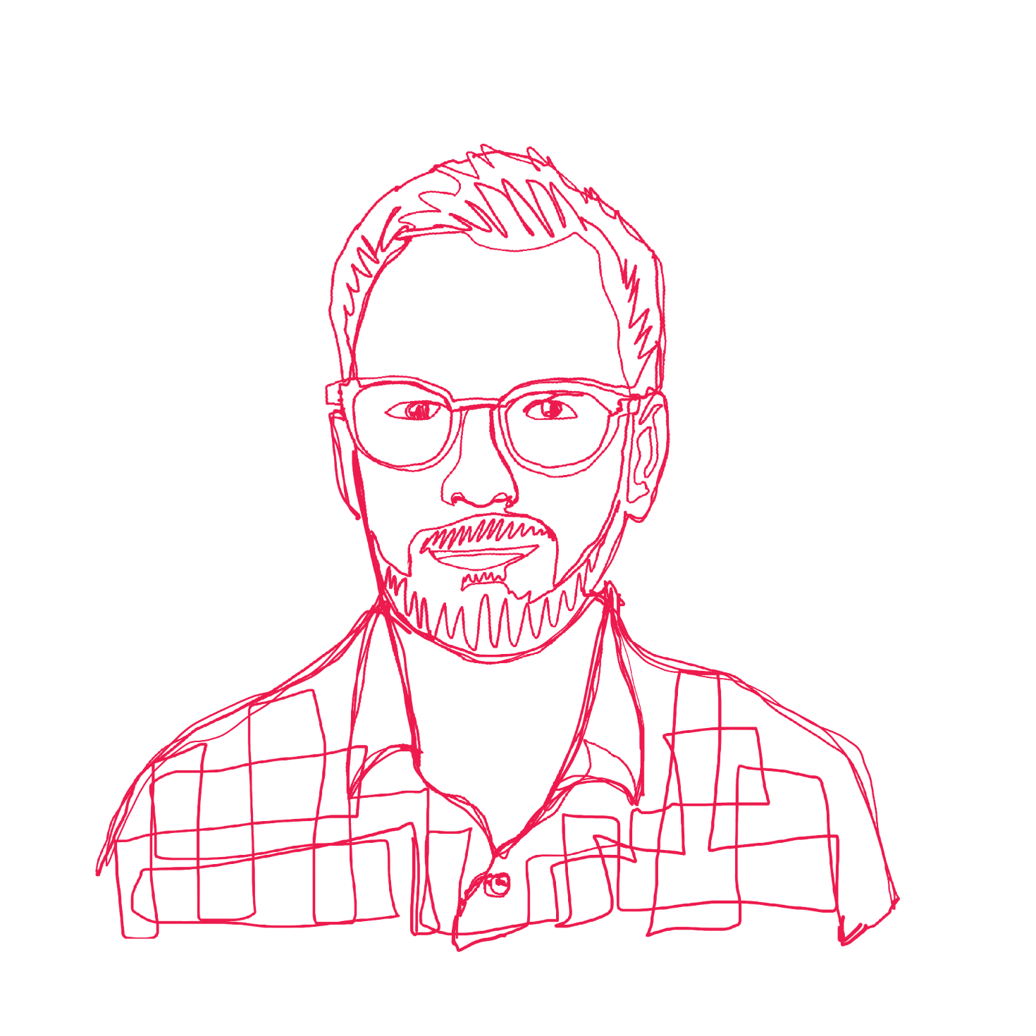 Self-portrait of Jesse in line-drawing style